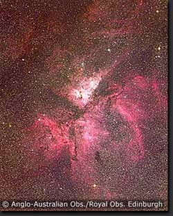 Colour photograph of η Carinae by David Malin using the UK Schmidt Telescope.
