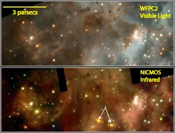 HST visible and infrared images of star forming region, 30 Doradus in the Large Magellanic Cloud.