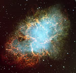 M1, the Crab Nebula, a supernova remnant containing a pulsar.