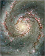 Dark dust lanes and bright HII regions in the spiral arms of M51, the Whirlpool Galaxy.