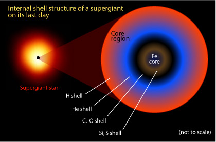 The onion layer-like internal structure of a supergiant star at the end of its life.