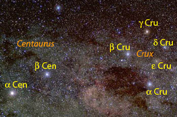 CCD image of the region around Crux and the Pointers.