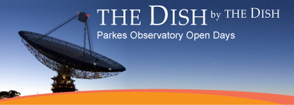 The Dish by The Dish, Parkes Observatory Open Days [Photo of the Parkes telescope at twilight with orange and red stripe across the bottom]