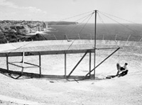 Photo: Construction work on the hole-in-the-ground antenna in 1953.
