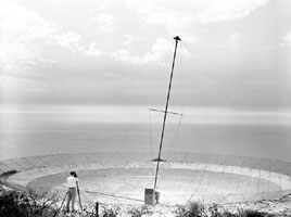 Photo: Gordon Stanley checking the position of the aerial mast.