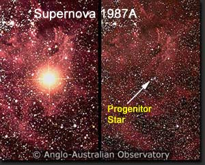Comparison of SN 1987A, after on the left and the progenitor star on the right.