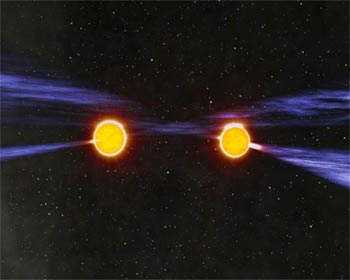 Artist's impression of the binary pulsar system PSR J0737-3039