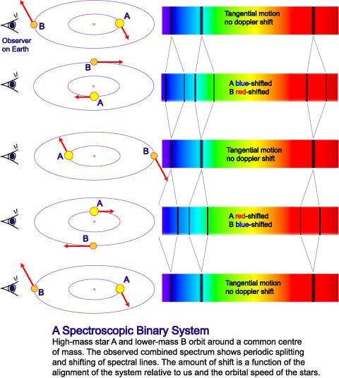 Schematic showing periodic shifting of spectral lines in a spectrosciopic binary system.