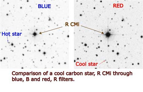 Comaprison of a cool, red carbon star R CMi through blue, B and red, R filters.