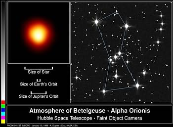 Betelgeuse, a red supergiant.