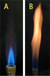 Blue and orange bunsen flames