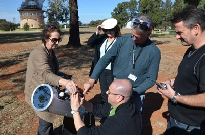 Teachers viewing the Sun during the 2012 workshop.