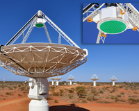 CSIRO's ASKAP antennas, installed with innovative new PAF receivers. A close-up of the PAF chequerboard is visible in the inset.