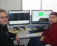 Aidan Hotan and Maxim Voronkov, members of the ASKAP Systems Commissioning team, in the control room at the MRO. Credit: CSIRO.