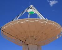 The first Phased Array Feed installed on an ASKAP antenna at the Murchison Radio-astronomy Observatory. Image courtesy of DIISR.