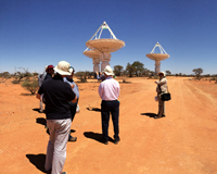 A small group of SKA engineers at the Murchison Radio-astronomy Observatory. Credit: CSIRO.