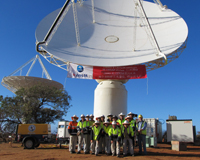 Antennas that make up CSIRO's ASKAP radio telescope, June 2012; nine of ASKAP's 36 antennas can be seen in this picture. Credit: Ross Forsyth, CSIRO.