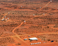 An aerial view of the MRO, dotted with ASKAP antennas connected by roads.