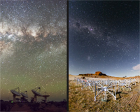 ASKAP and the MWA telescopes under a starry night sky. Credit: Alex Cherney (ASKAP) and Pete Wheeler (MWA).