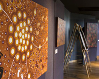 A side view of a piece of indigenous artwork on an easel. Credit: SKA Australia