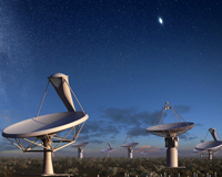 An artist's impression of SKA and ASKAP antennas at the MRO.