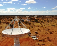 CSIRO's ASKAP antennas on site at the Murchison Radio-astronomy Observatory.  Credit: Dragonfly Media.