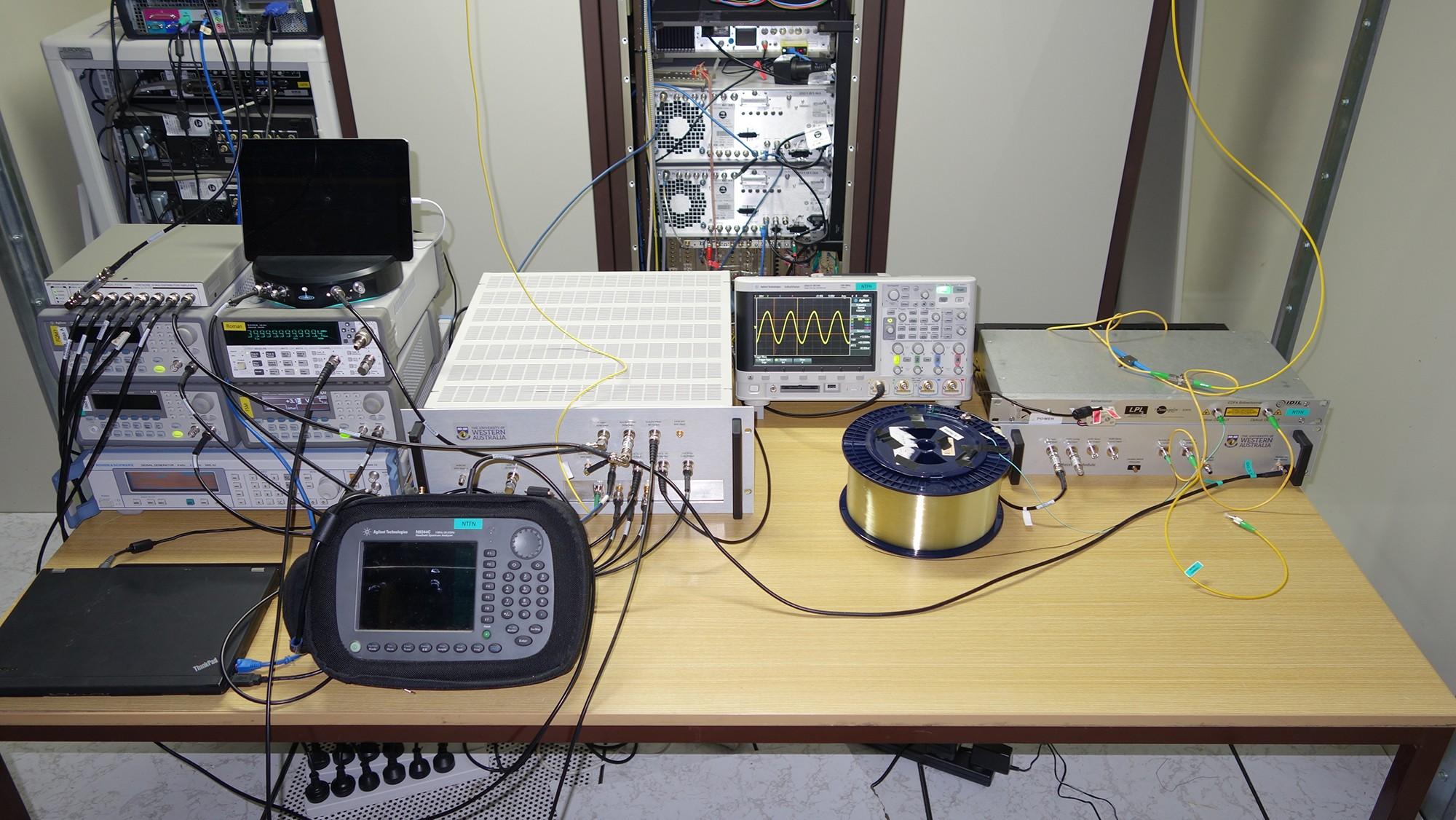 Equipment set up on a desk.