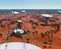Artist's impression of dishes (of ASKAP and SKA) that will make up the SKA radio telescope at the Australian SKA core site. Credit: Swinburne Astronomy Productions/Australian SKA Office.