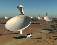 Artist's impression of the SKA dishes. Credit: SPDO/TDP/DRAO/Swinburne Astronomy Productions.