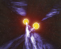 An artist's impression of a double pulsar system. Credit: John Rowe Animations/CSIRO.